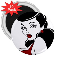 Pin Up 3  Button Magnet (10 pack)