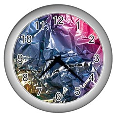 Texture   Rainbow Foil By Dori Stock Wall Clock (Silver)