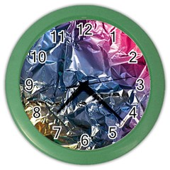 Texture   Rainbow Foil By Dori Stock Wall Clock (Color)