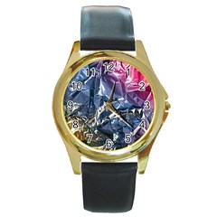Texture   Rainbow Foil By Dori Stock Round Leather Watch (Gold Rim)