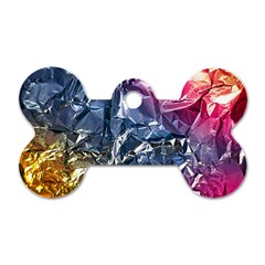 Texture   Rainbow Foil By Dori Stock Dog Tag Bone (Two Sided)