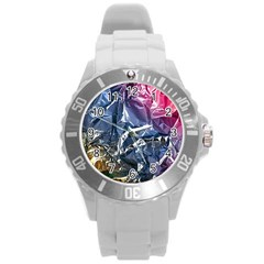 Texture   Rainbow Foil By Dori Stock Plastic Sport Watch (Large)