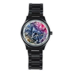 Texture   Rainbow Foil By Dori Stock Sport Metal Watch (Black)