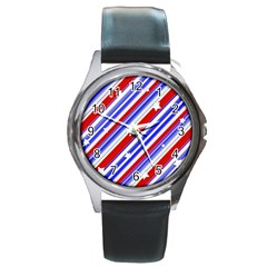 American Motif Round Leather Watch (silver Rim)