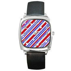 American Motif Square Leather Watch