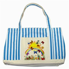Butterfly Rainbow Days Blue Striped Tote Bag