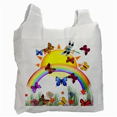 Butterfly Rainbow Days White Reusable Bag (two Sides)