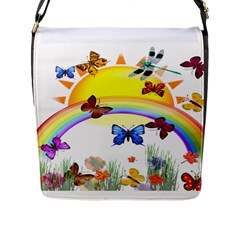 Butterfly Rainbow Days Flap Closure Messenger Bag (large)