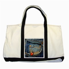 Blue Jean Lady Bug Two Toned Tote Bag