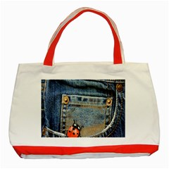 Blue Jean Lady Bug Classic Tote Bag (Red)