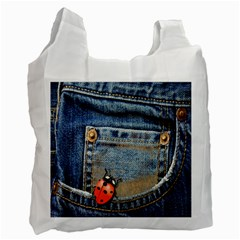 Blue Jean Lady Bug White Reusable Bag (one Side)