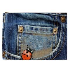 Blue Jean Lady Bug Cosmetic Bag (xxl)