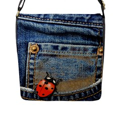 Blue Jean Lady Bug Flap Closure Messenger Bag (Large)