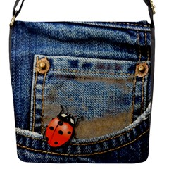 Blue Jean Lady Bug Flap Closure Messenger Bag (small)