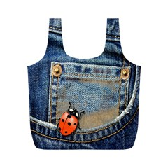 Blue Jean Lady Bug Reusable Bag (m)