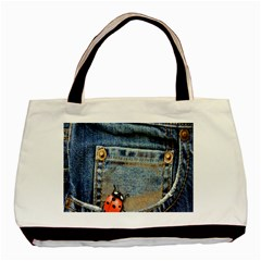 Blue Jean Butterfly Twin-sided Black Tote Bag