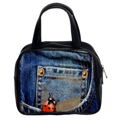 Blue Jean Butterfly Classic Handbag (two Sides)