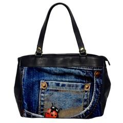 Blue Jean Butterfly Oversize Office Handbag (one Side)