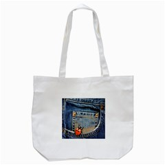 Blue Jean Butterfly Tote Bag (White)