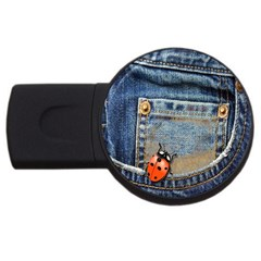 Blue Jean Butterfly 4gb Usb Flash Drive (round)