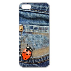 Blue Jean Butterfly Apple Seamless Iphone 5 Case (clear)