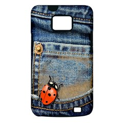 Blue Jean Butterfly Samsung Galaxy S II i9100 Hardshell Case (PC+Silicone)