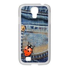 Blue Jean Butterfly Samsung GALAXY S4 I9500/ I9505 Case (White)