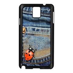 Blue Jean Butterfly Samsung Galaxy Note 3 N9005 Case (Black)