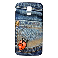 Blue Jean Butterfly Samsung Galaxy S5 Back Case (White)