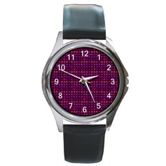 Funky Retro Pattern Round Leather Watch (Silver Rim)