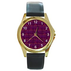 Funky Retro Pattern Round Leather Watch (Gold Rim)