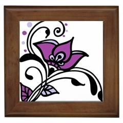 Awareness Flower Framed Ceramic Tile