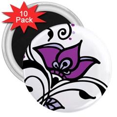 Awareness Flower 3  Button Magnet (10 pack)