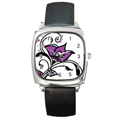 Awareness Flower Square Leather Watch