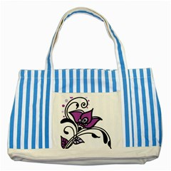 Awareness Flower Blue Striped Tote Bag