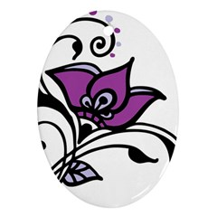Awareness Flower Oval Ornament (Two Sides)