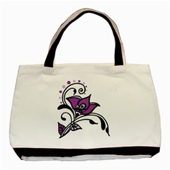 Awareness Flower Twin Sided Black Tote Bag