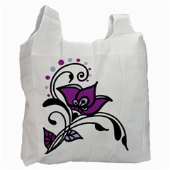 Awareness Flower White Reusable Bag (one Side)