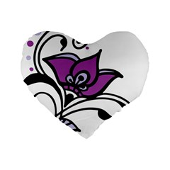 Awareness Flower 16  Premium Heart Shape Cushion