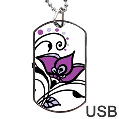Awareness Flower Dog Tag USB Flash (Two Sides)
