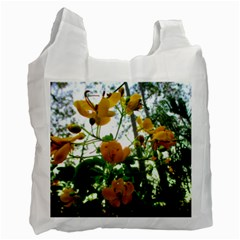 Yellow Flowers White Reusable Bag (two Sides)