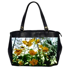 Yellow Flowers Oversize Office Handbag (Two Sides)