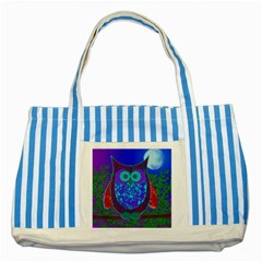 Moon Owl  Blue Striped Tote Bag
