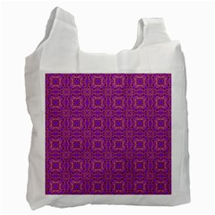 Purple Moroccan Pattern White Reusable Bag (One Side)