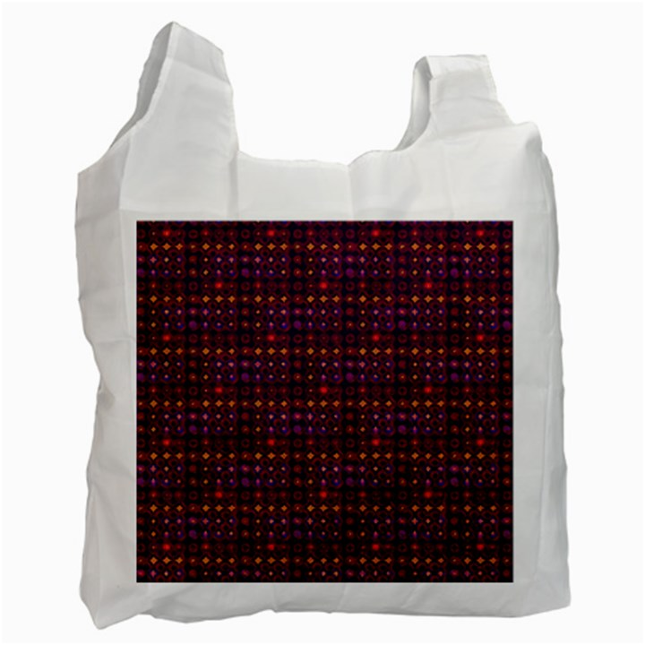 Funky Retro Pattern White Reusable Bag (Two Sides)