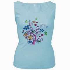 Flowery Flower Women s Tank Top (Baby Blue)