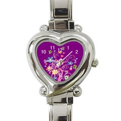 Flowery Flower Heart Italian Charm Watch