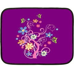 Flowery Flower Mini Fleece Blanket (Two Sided)