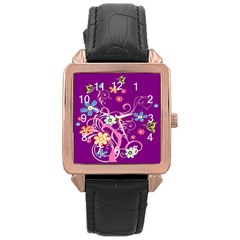 Flowery Flower Rose Gold Leather Watch