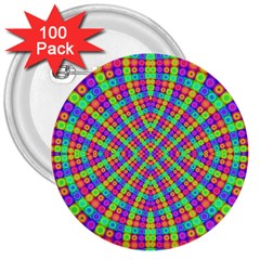 Many Circles 3  Button (100 Pack)